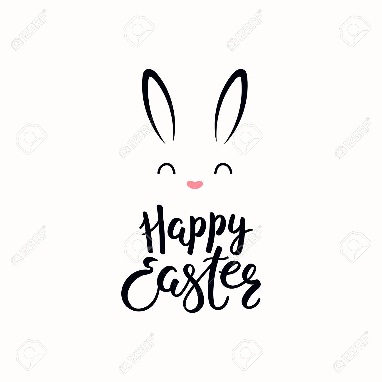 Hand written calligraphic lettering quote Happy Easter, with bunny face. Isolated objects on white background. Hand drawn vector illustration. Design concept, element for card, banner, invitation. - 117371798