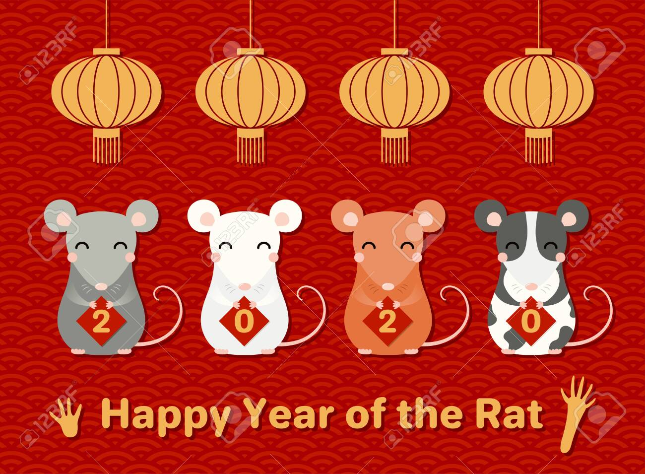 2020 Chinese New Year greeting card with cute rats holding cards with numbers, text, lanterns, on a waves pattern background. Vector illustration. Design concept holiday banner, decor element. - 124419827