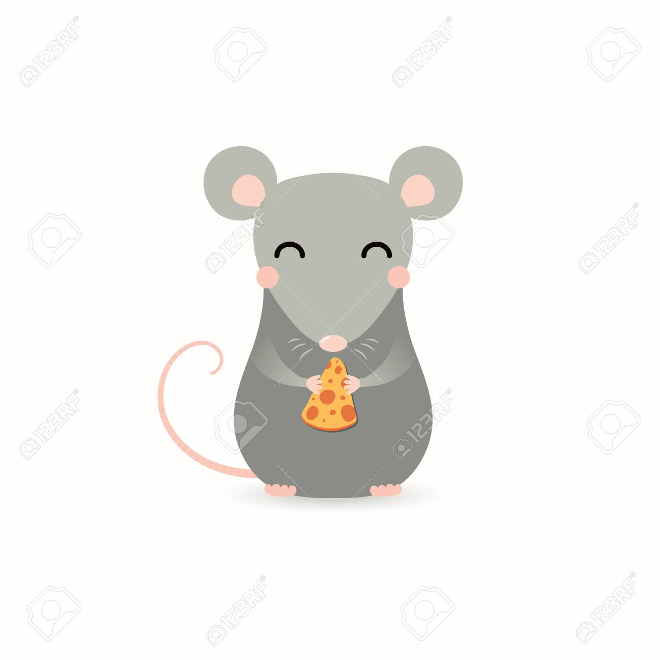 Hand drawn vector illustration of a cute little rat with a piece of cheese. Isolated objects on white background. Flat style design. Concept for Chinese New Year greeting card, holiday banner, decor. - 124419833