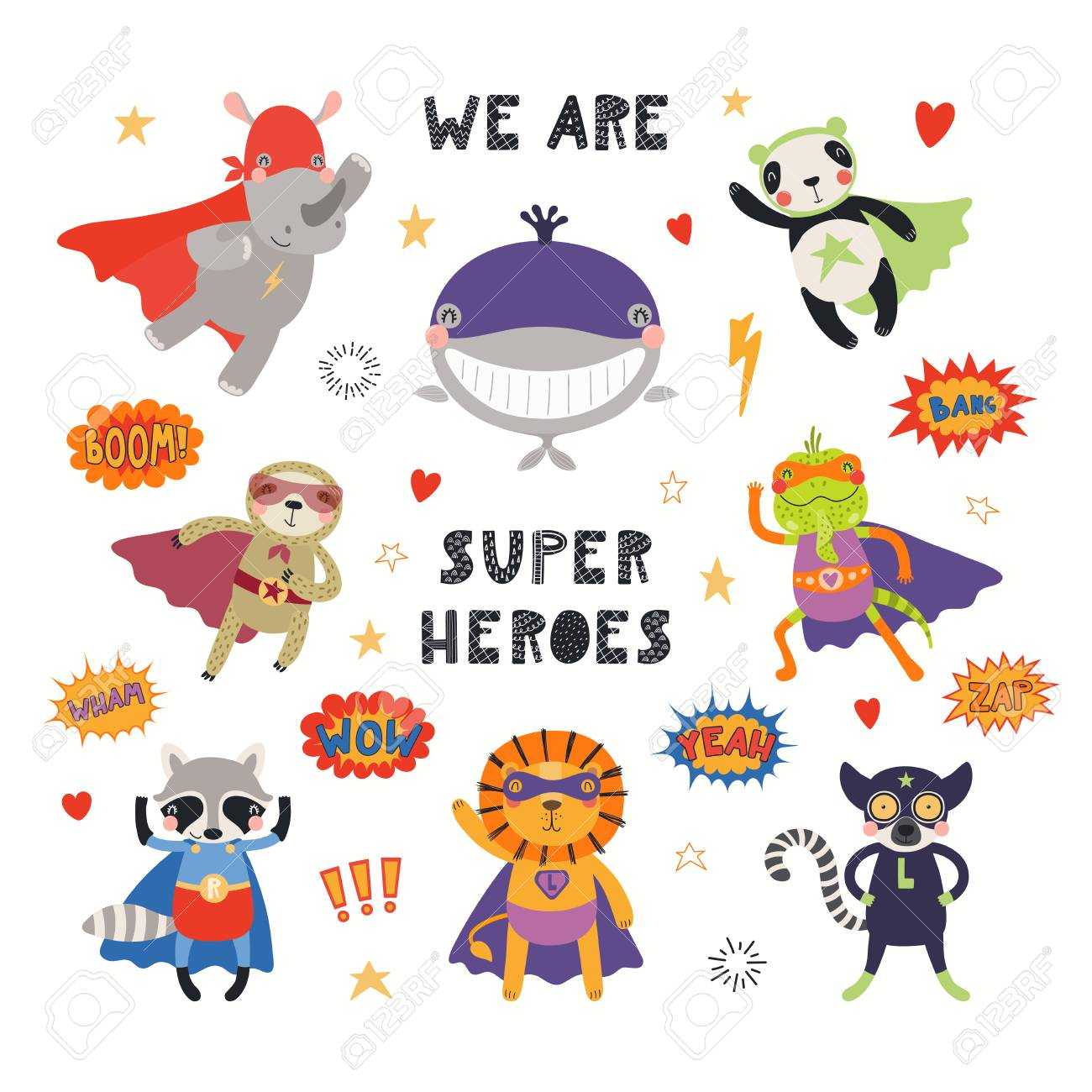 Big set of cute animal superheroes, with quote We are superheroes. Isolated objects on white background. Hand drawn vector illustration. Scandinavian style flat design. Concept for children print. - 120445424