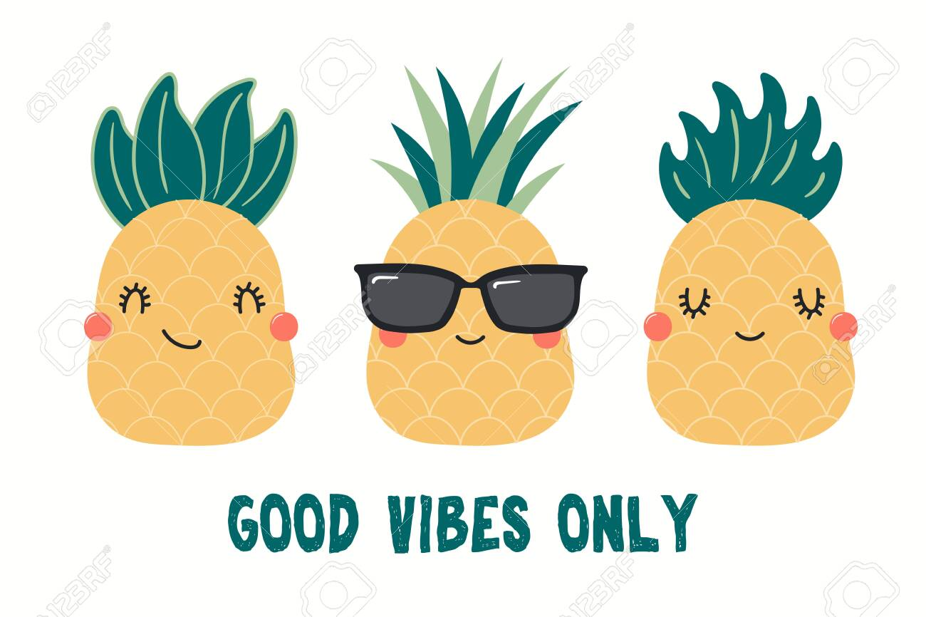 Collection of cute funny pineapples, with quote Good Vibes Only...