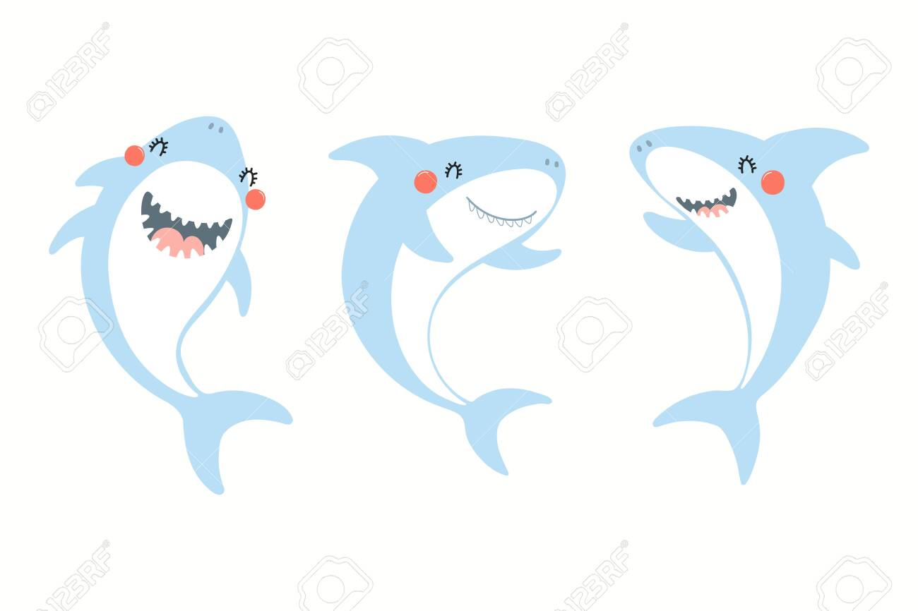 Collection of cute funny sharks. Isolated objects on white background. Hand drawn vector illustration. Flat style design. Color drawing. Concept for summer children print. - 128439891