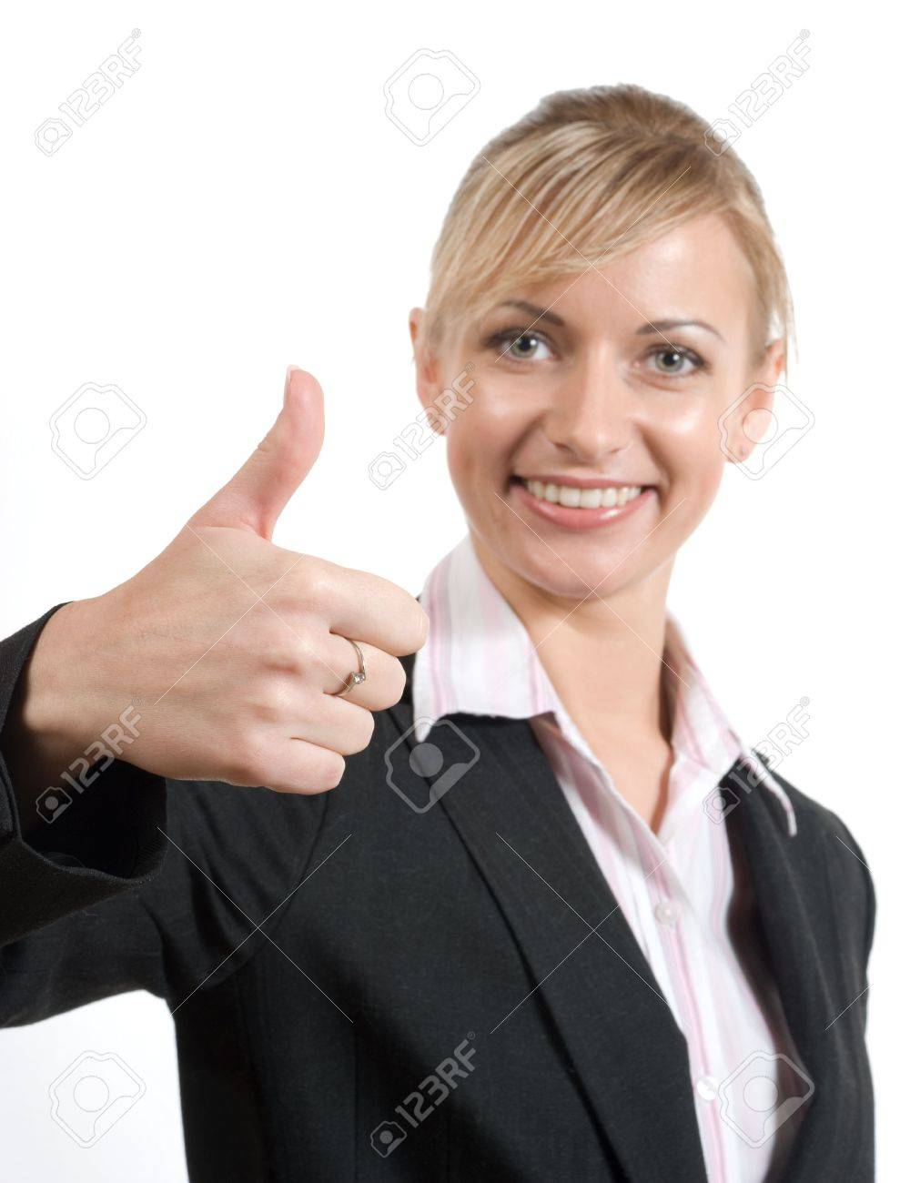 Portrait of women in business suit and white shirt with thumb up (focus on hand) on a white background Stock Photo - 2896991