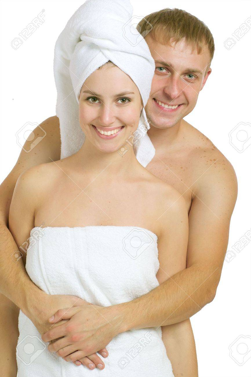 Men and women after taking baths. On a white background. Stock Photo - 3755903