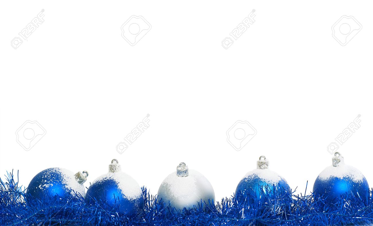 Blue And Silver Christmas Balls Isolated On A White Background