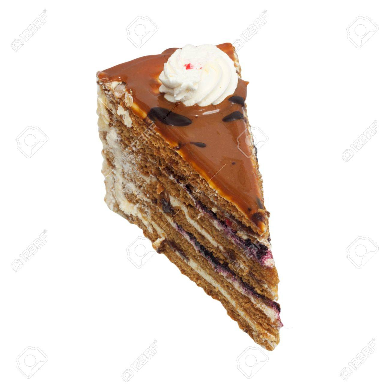 Slice of cream cake with chocolate on the white background Stock Photo - 9333155