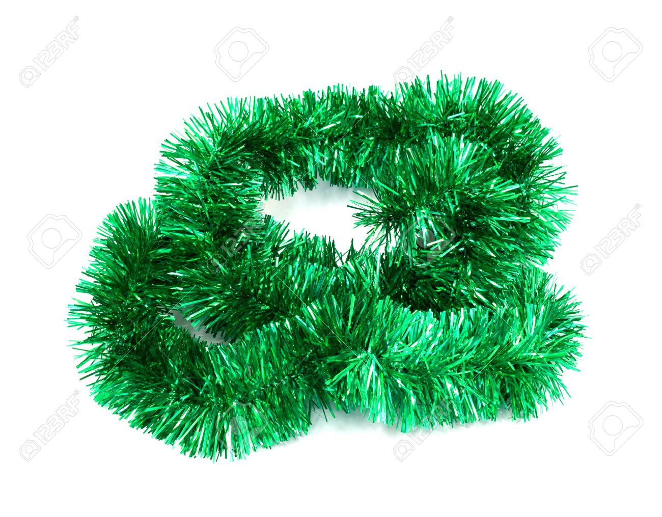 Christmas Tinsel Garland.Green Christmas Tinsel Garland