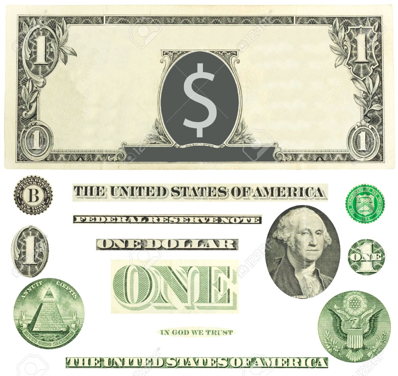 set of detailed vector ornaments loosely based off a one dollar rh 123rf com dollar bill vector template 100 dollar bill vector download