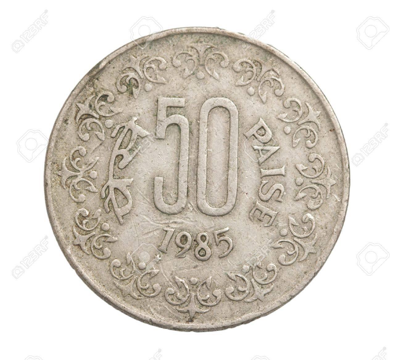Indische Münzen Auf Einem Weißen Hintergrund Lizenzfreie Fotos