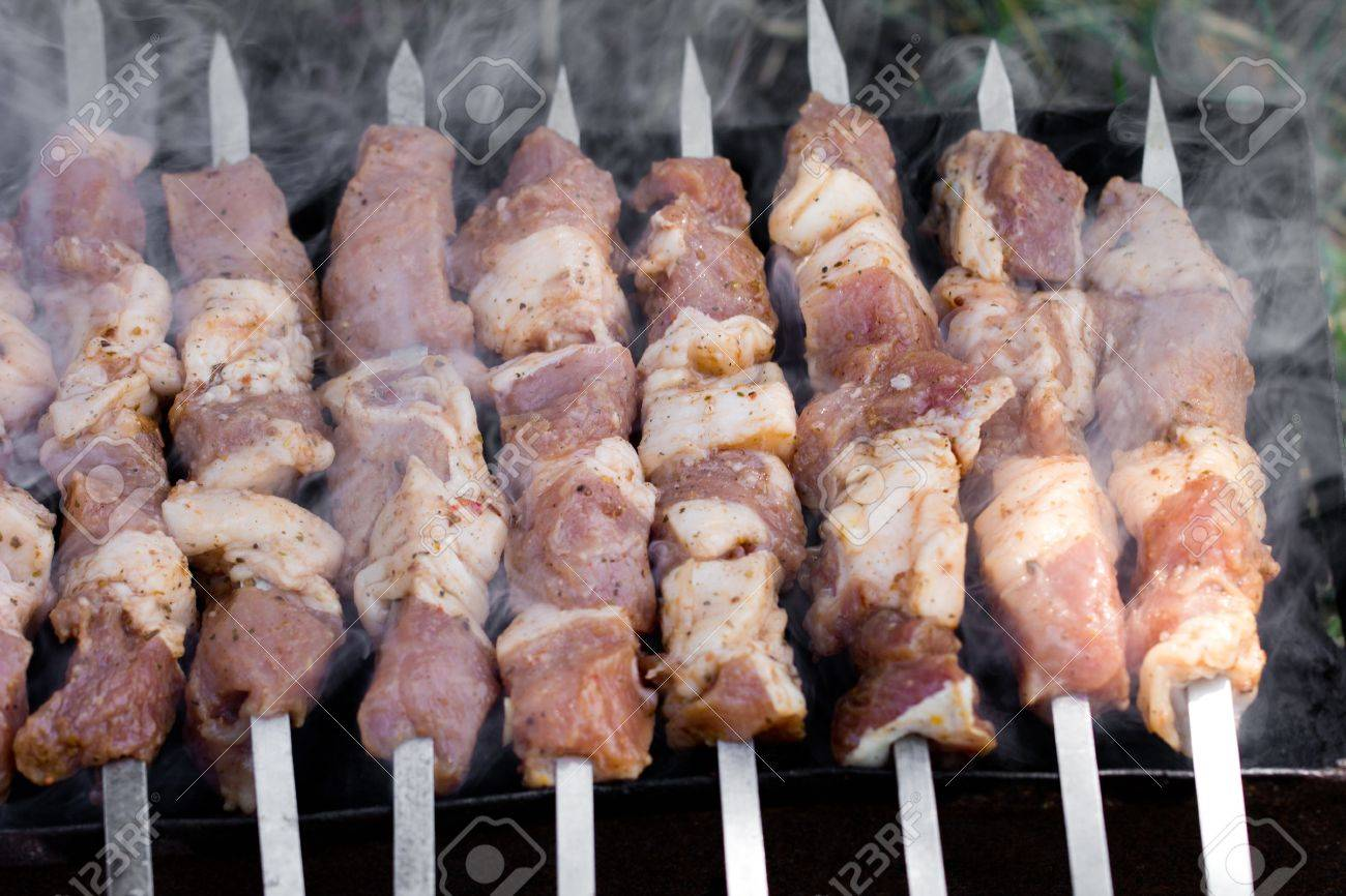 skewers. grilled meat on the coals Stock Photo - 21332213