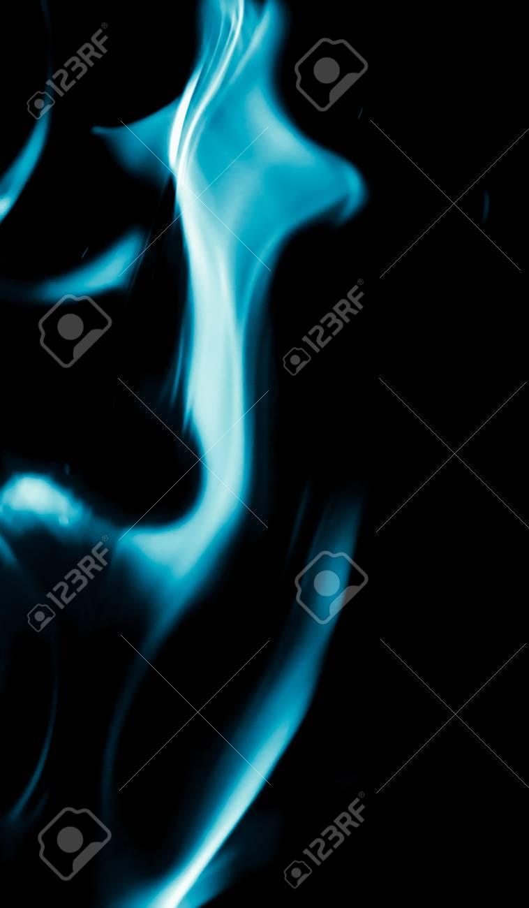 Immagini Stock Sfondo Astratto Di Blu Fiamma Fuoco Su Sfondo Nero