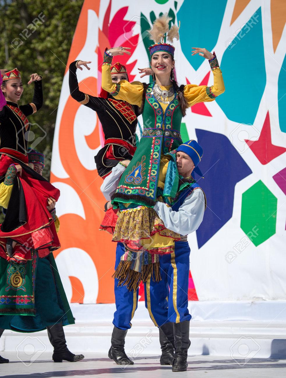 Shymkent, KAZAKHSTAN - May 1, 2017: People in national costumes