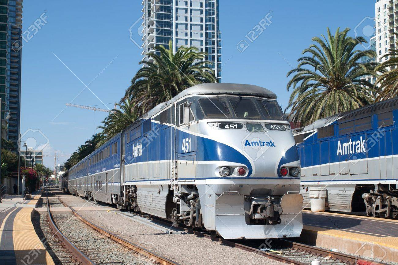 An Amtrak California Passenger Train Leaves The Santa Fe Depot Stock Photo Picture And Royalty Free Image Image 15485971