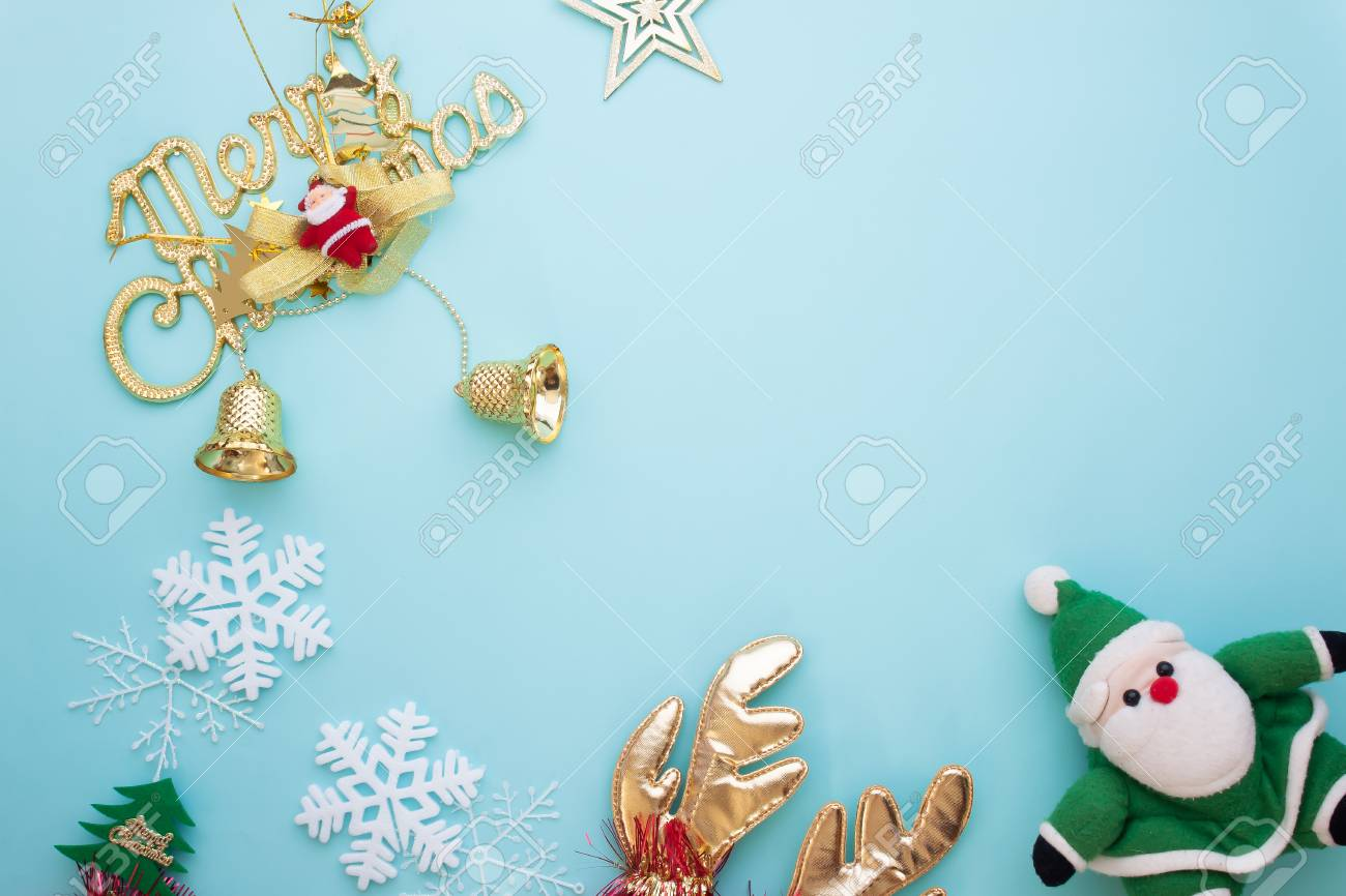 Pastel Christmas Ornaments.Merry Christmas Ornaments And Decoration Items On Pastel Color