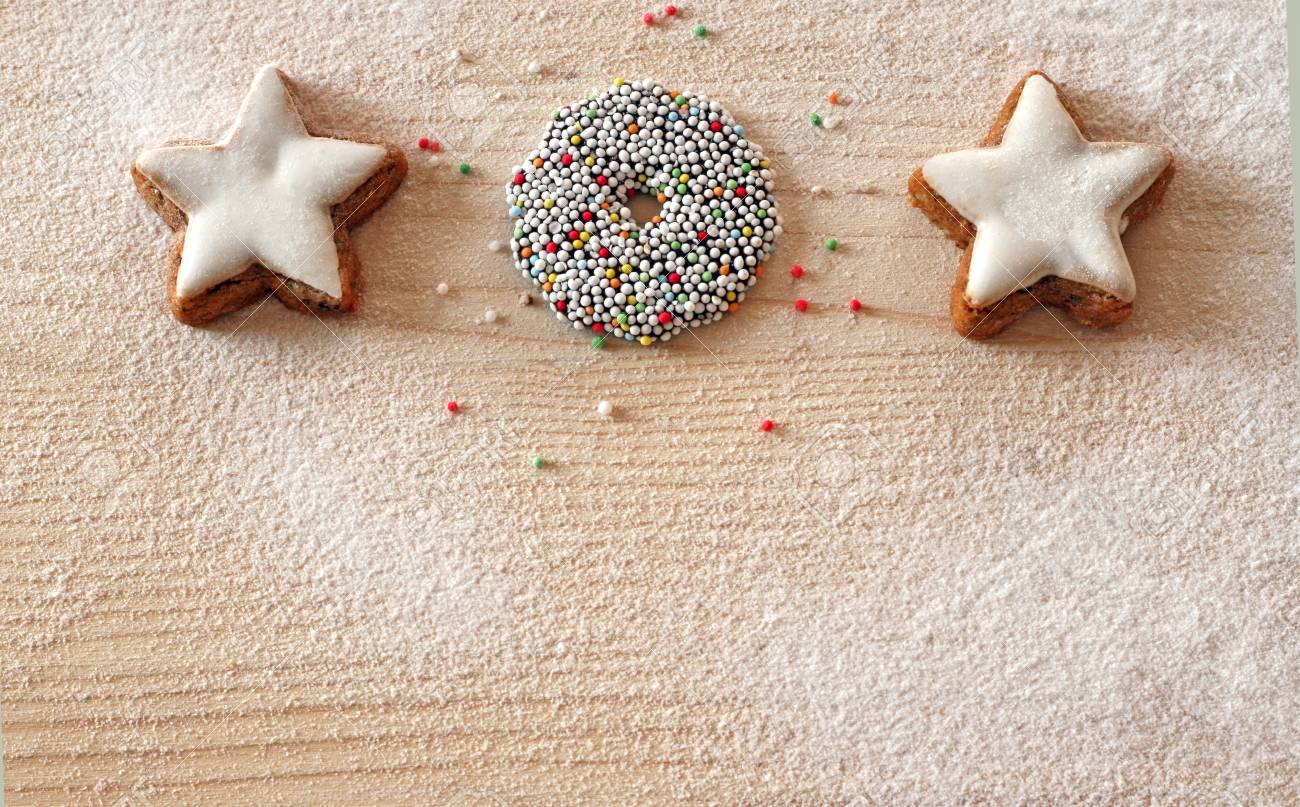 White Christmas Card With Cinnamon Star Cookies A Colorful Chocolate