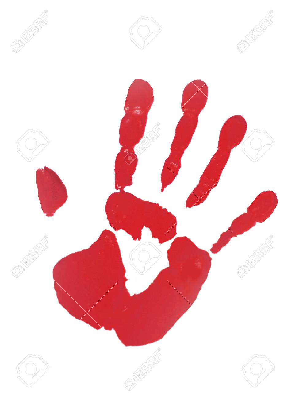 stop no red paint handprint on white paper stock photo picture