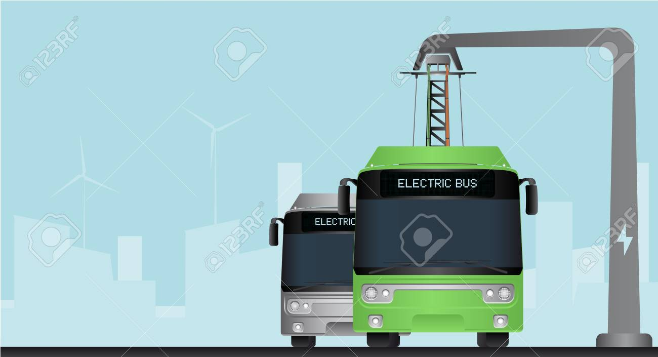 Green and grey electric bus in a city with a blue background - 97396182