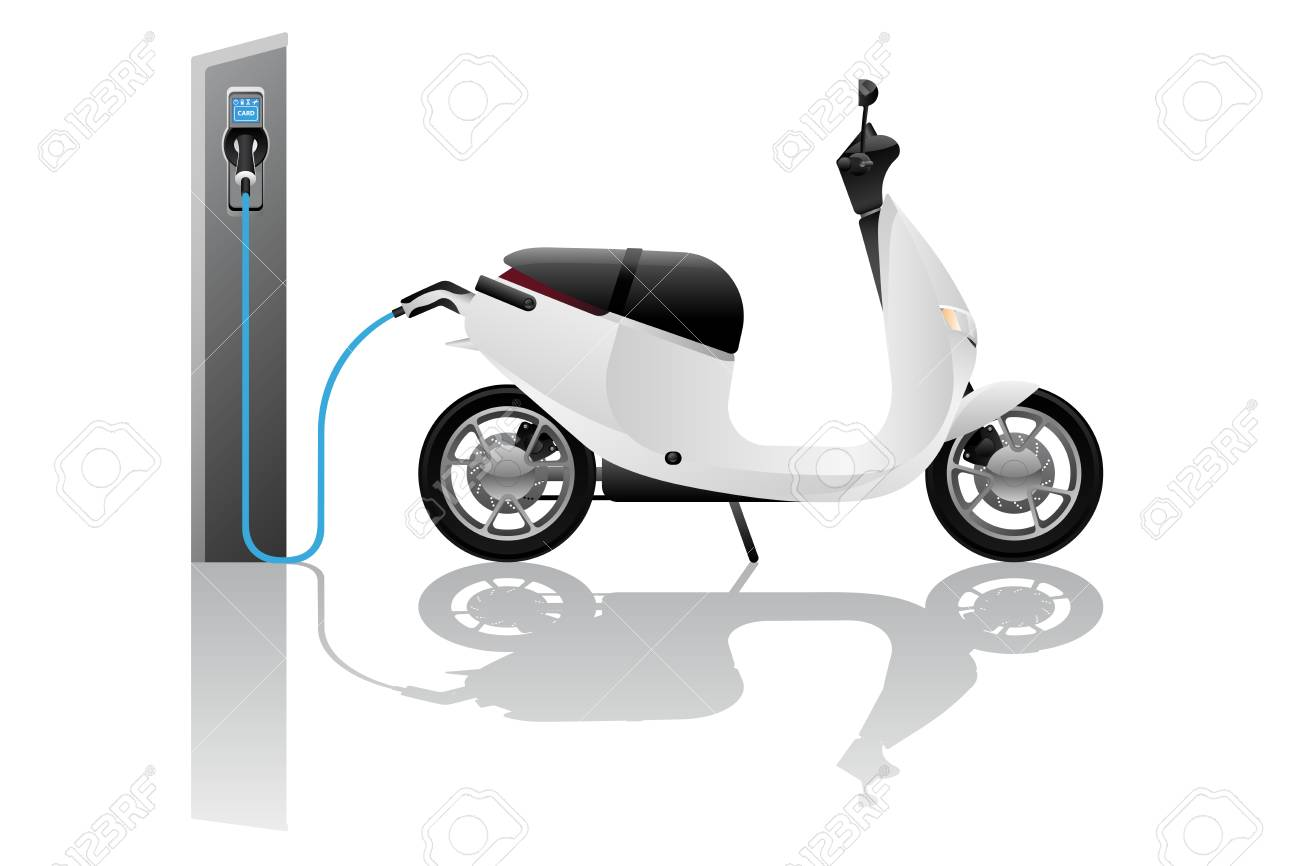 Electric scooter for sharing with charging station. Vector illustration - 111794112