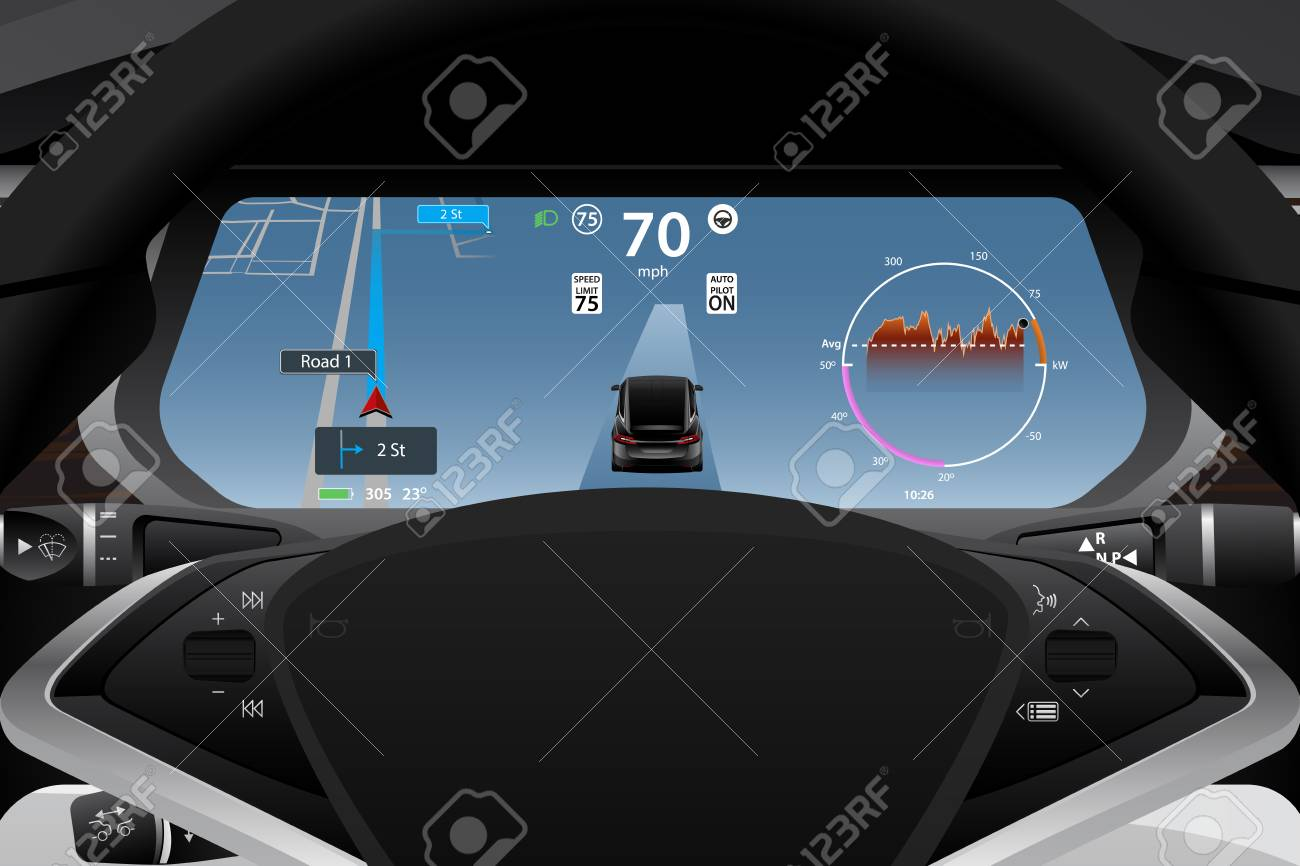 Self Driving Electric Car Dashboard Display Closeup Vector Illustration Royalty Free Cliparts Vectors And Stock Illustration Image 118116972