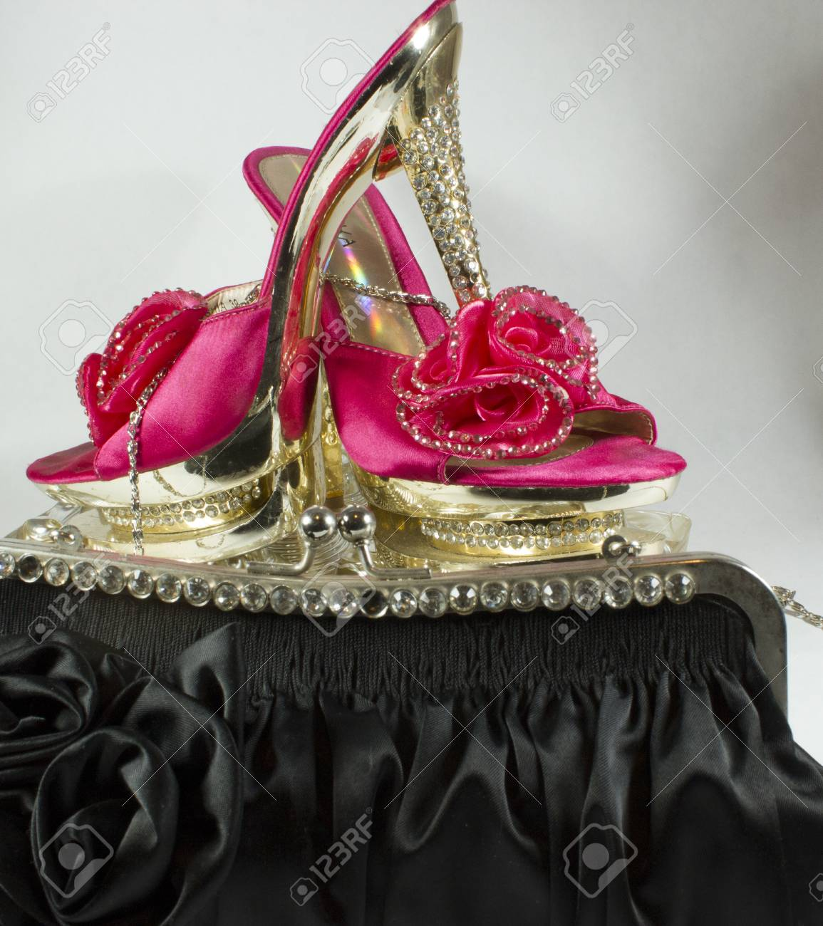 Intense Pink Shoes With Heels Studded With Glitter Enriched Stock