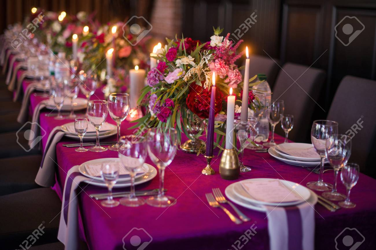 Elegant Dark Pink Wedding Banquet Table With Glasses Dishes Stock Photo Picture And Royalty Free Image Image 106554049