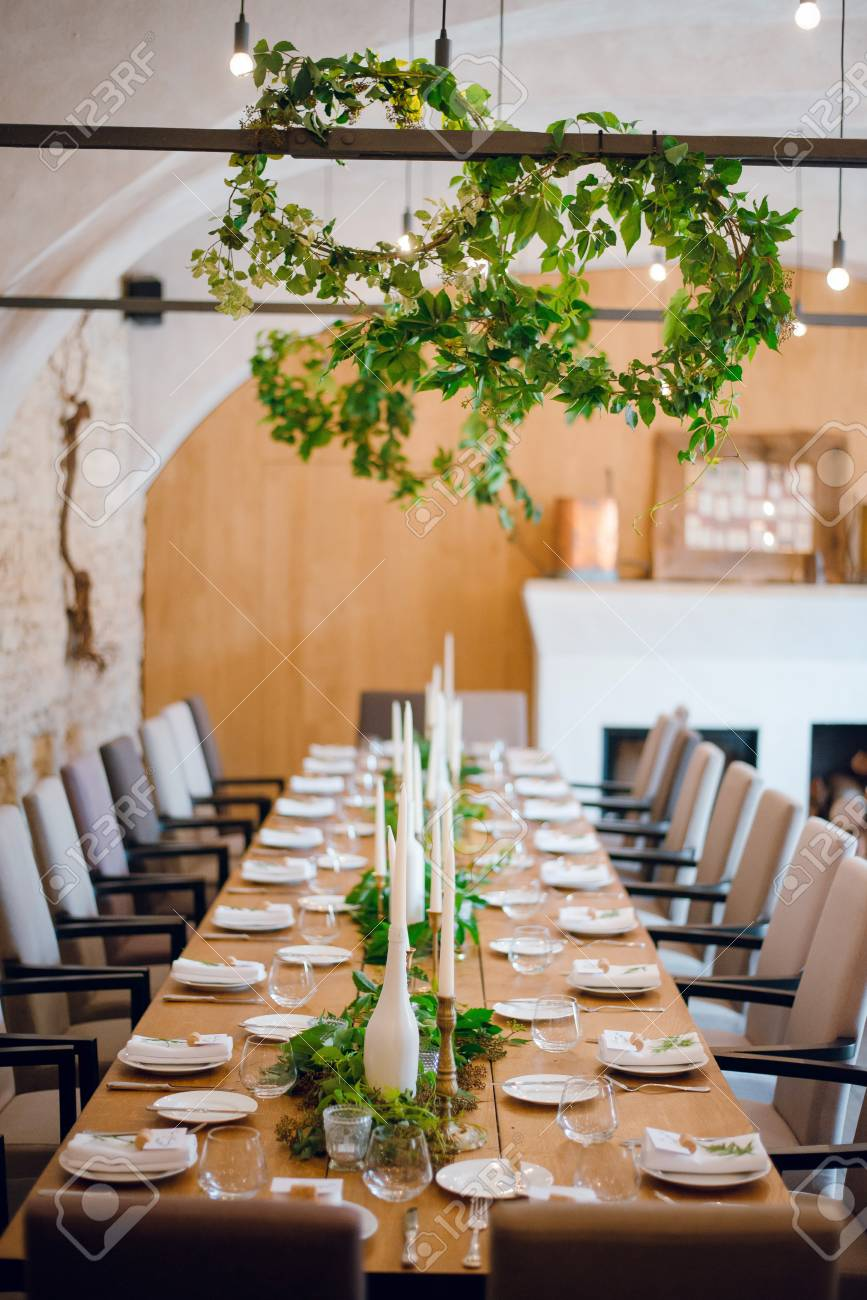 Rustic Wedding Decoration Table Setting Floral And Green Plant Stock Photo Picture And Royalty Free Image Image 109166366