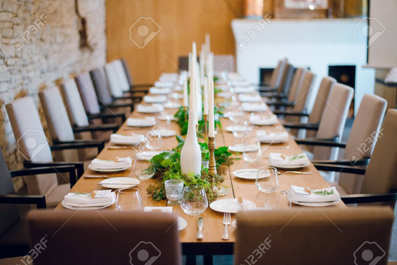 Rustic Wedding Decoration Table Setting Floral And Green Plant Stock Photo Picture And Royalty Free Image Image 109166367
