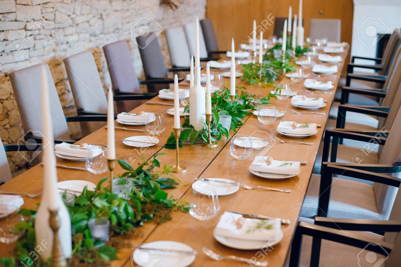 Rustic Wedding Decoration Table Setting Floral And Green Plant Stock Photo Picture And Royalty Free Image Image 109166438