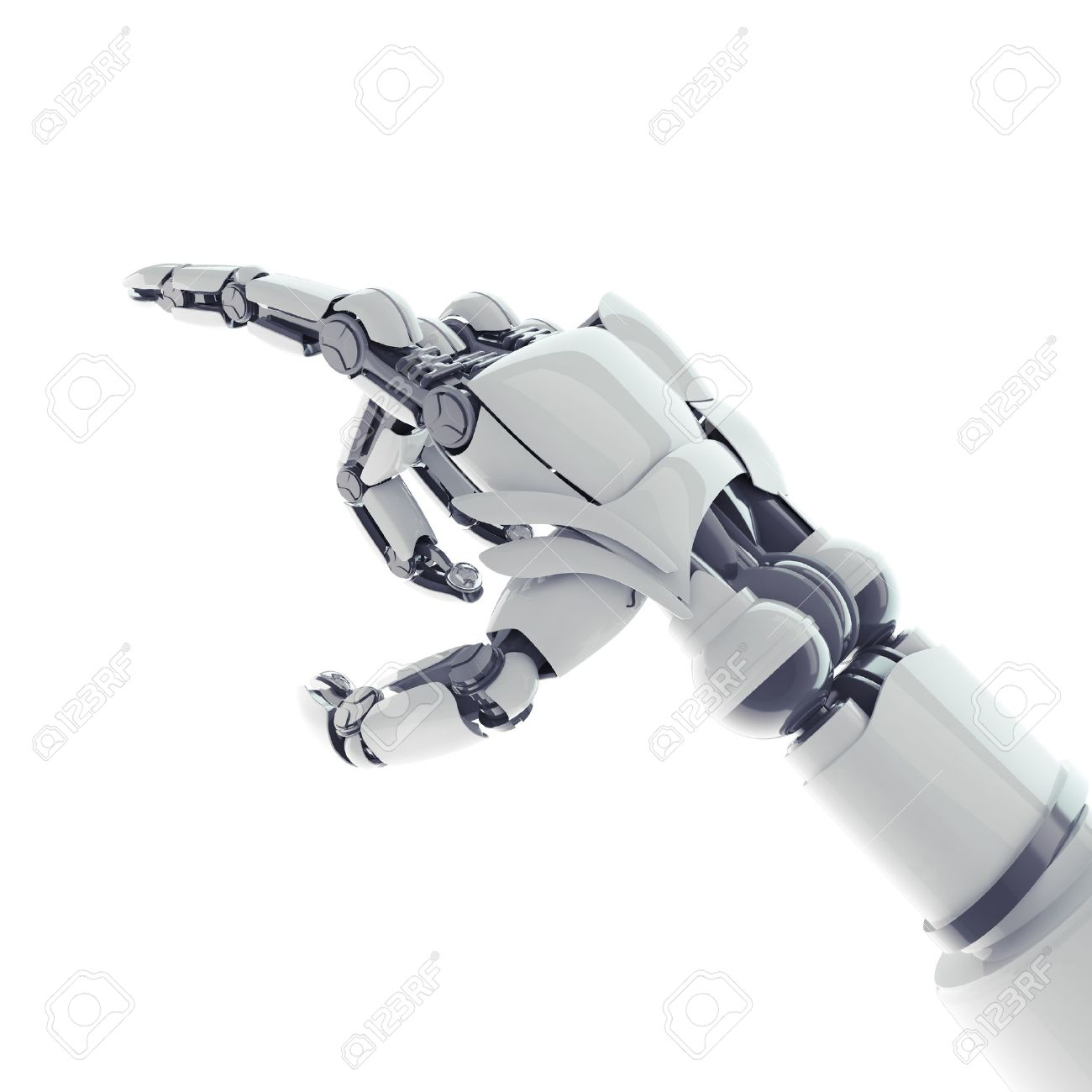 Isolated robotic pointing arm on white background Stock Photo - 17545960