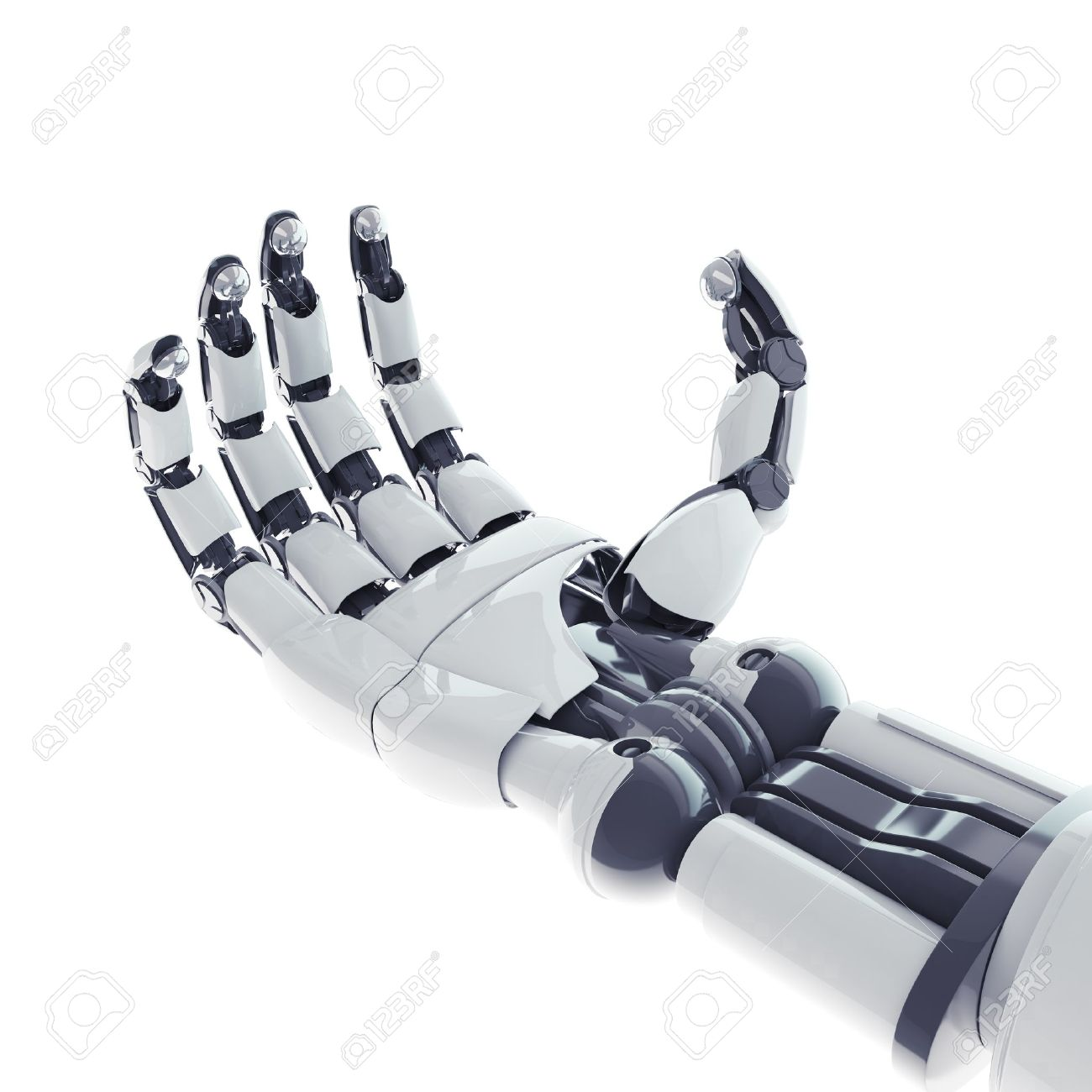 Isolated robotic arm on white background