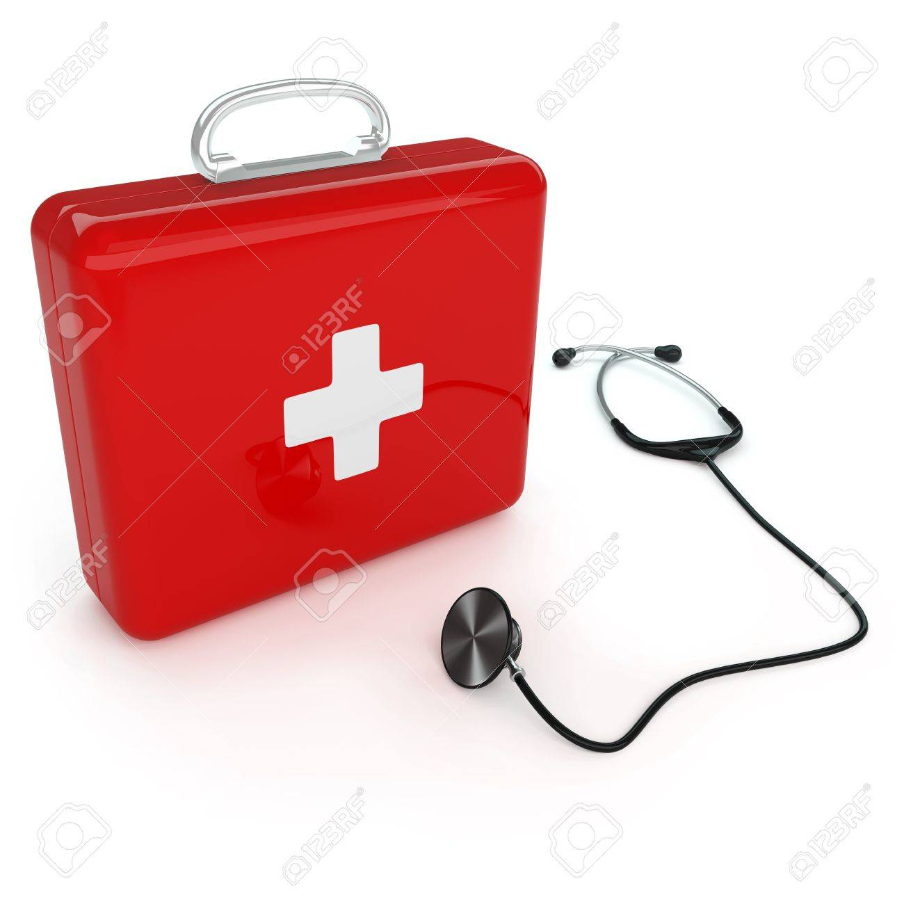Isolated first aid kit and stethoscope on white background Stock Photo - 17697188