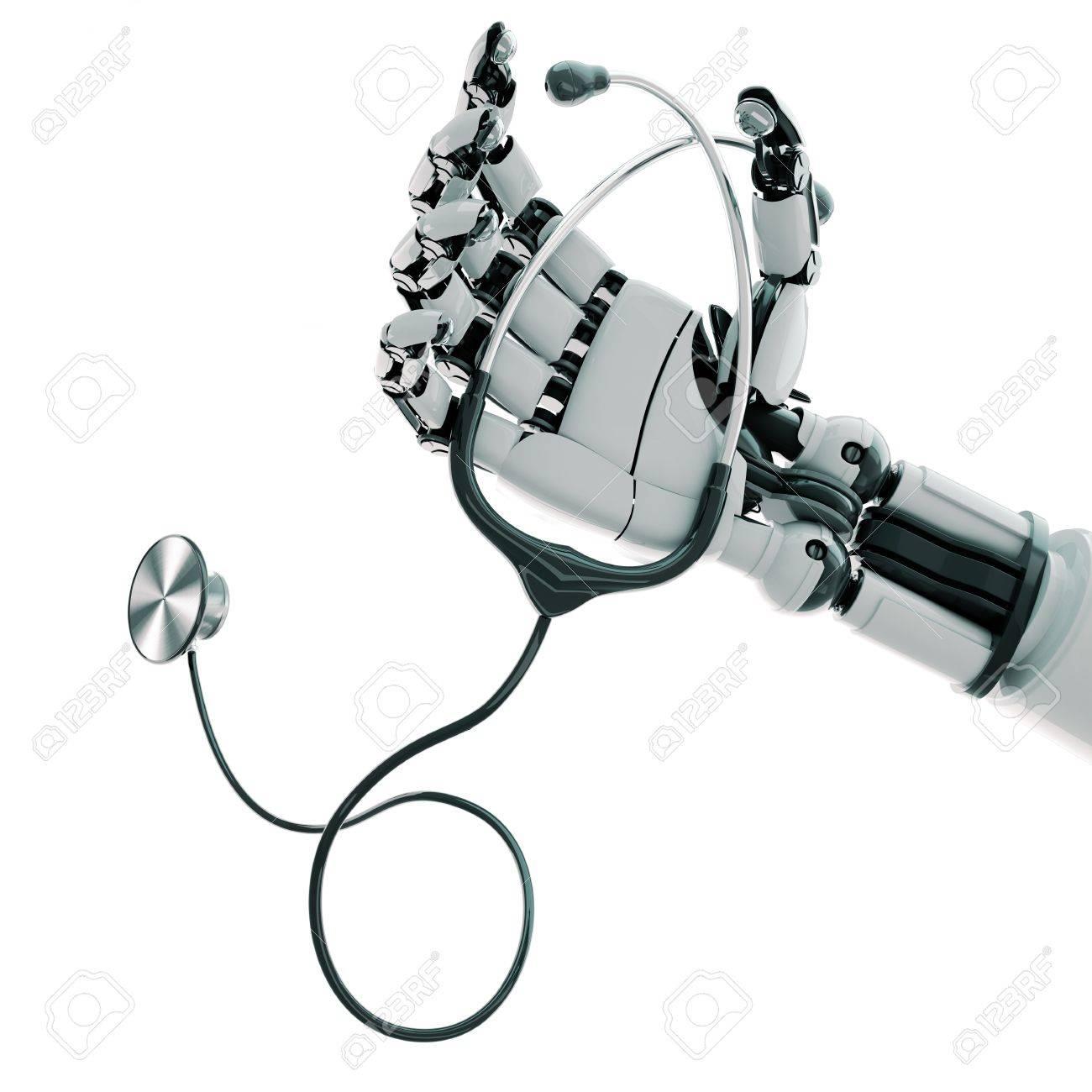 Isolated robotic arm with stethoscope on white background Stock Photo - 17697196