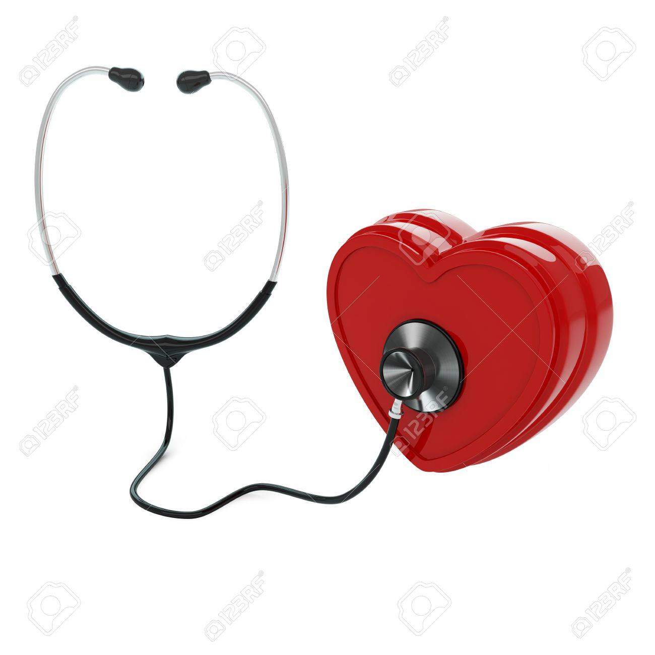 Isolated stethoscope examing heart on white background Stock Photo - 17697174