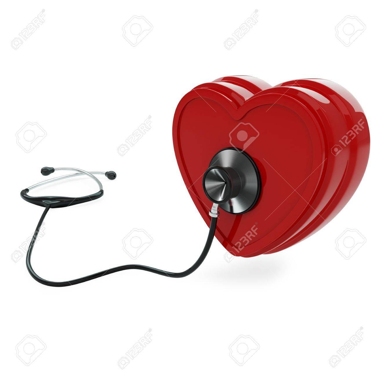 Isolated stethoscope examing heart on white background Stock Photo - 17697175