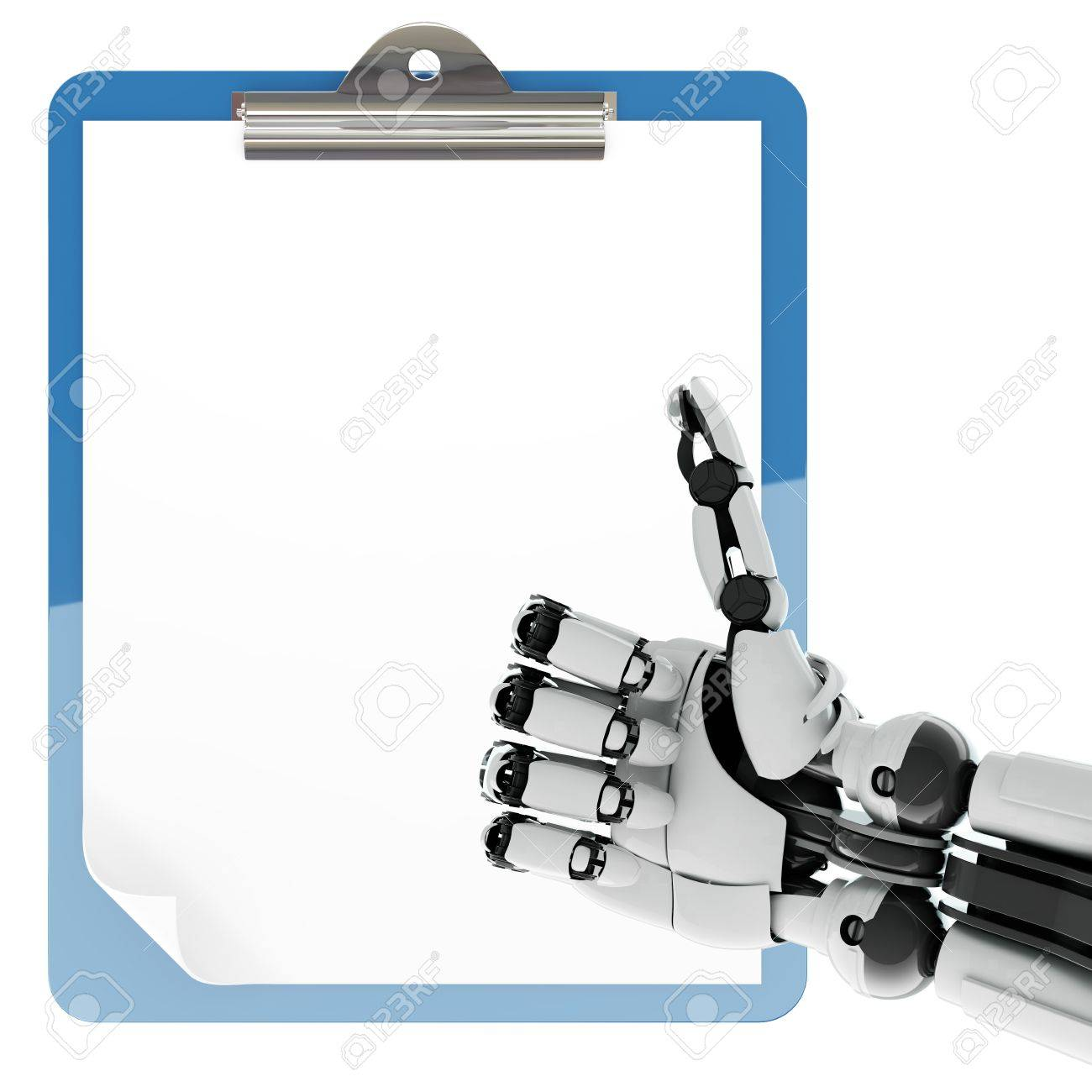 Isolated robotic arm showing thumbs up and paper pad holder on white background Stock Photo - 17697213