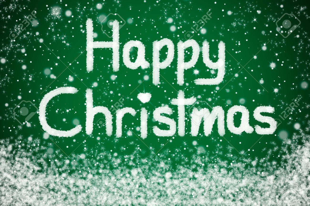 Happy Christmas Nachricht über Green Star Hintergrund Mit Schnee ...