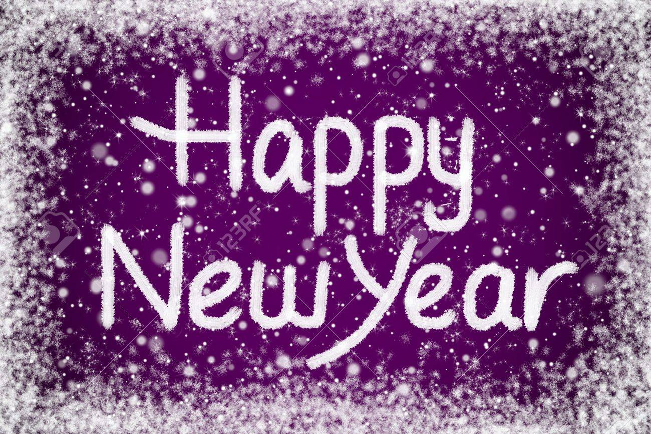 happy new year message on purple snow background stock photo 11454750