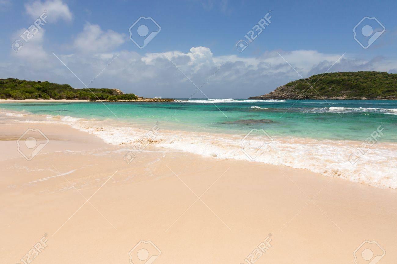 Beautiful Golden Sandy Beach at Half Moon Bay Antigua on Sunny Day Stock Photo - 22443262