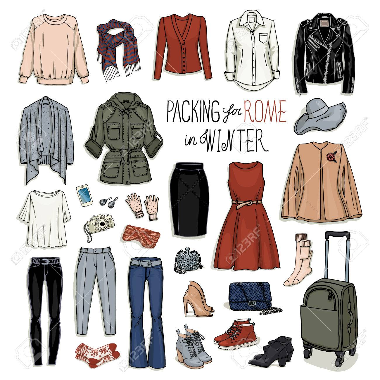 cb81b497589b Vector - Vector illustration of packing for Rome in winter. Sketch of  clothes and accessories for design. Female fashion collection set.