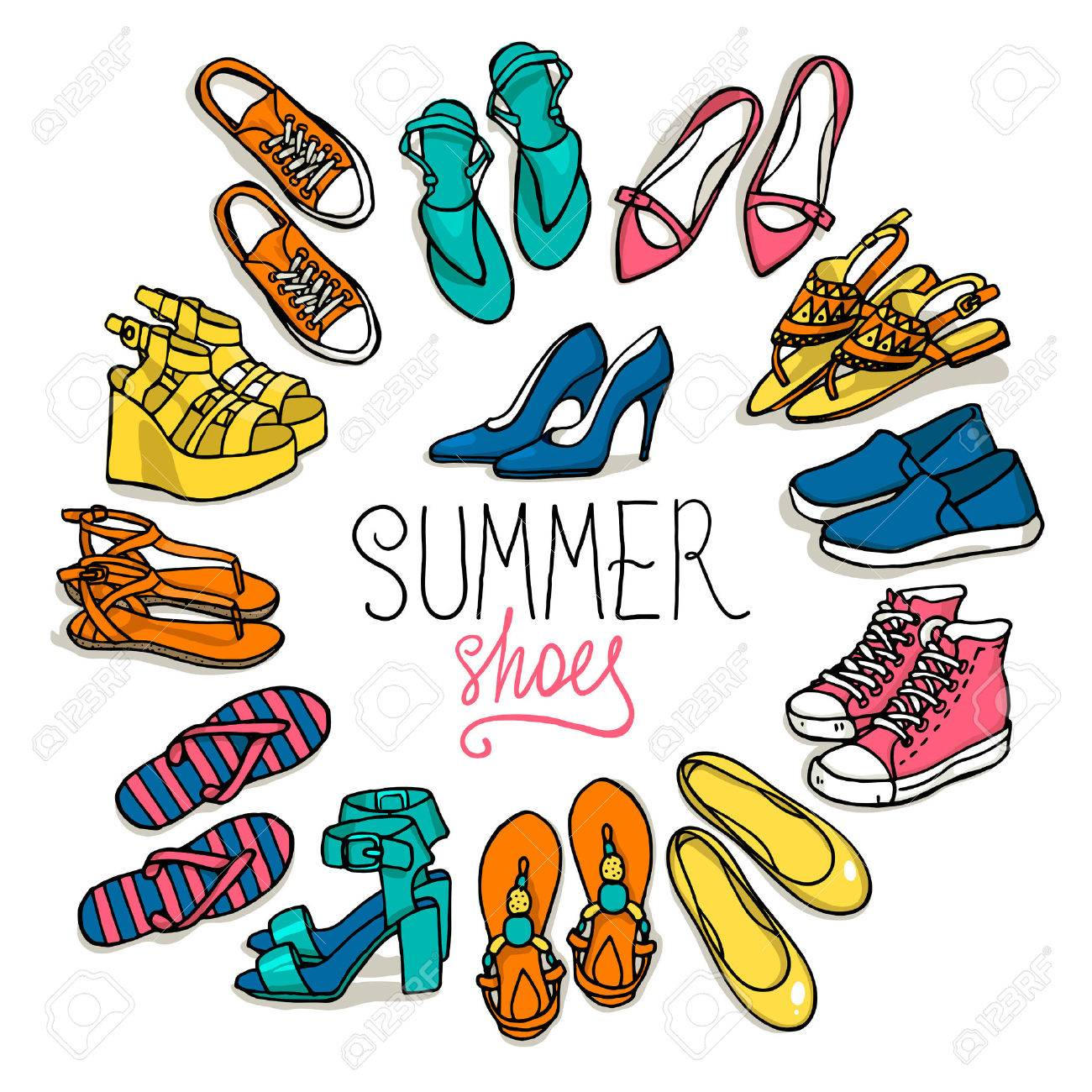 Vector illustration of woman shoes set. Hand-drown objects illustrations. Spring-summer fashion collection. - 51444485