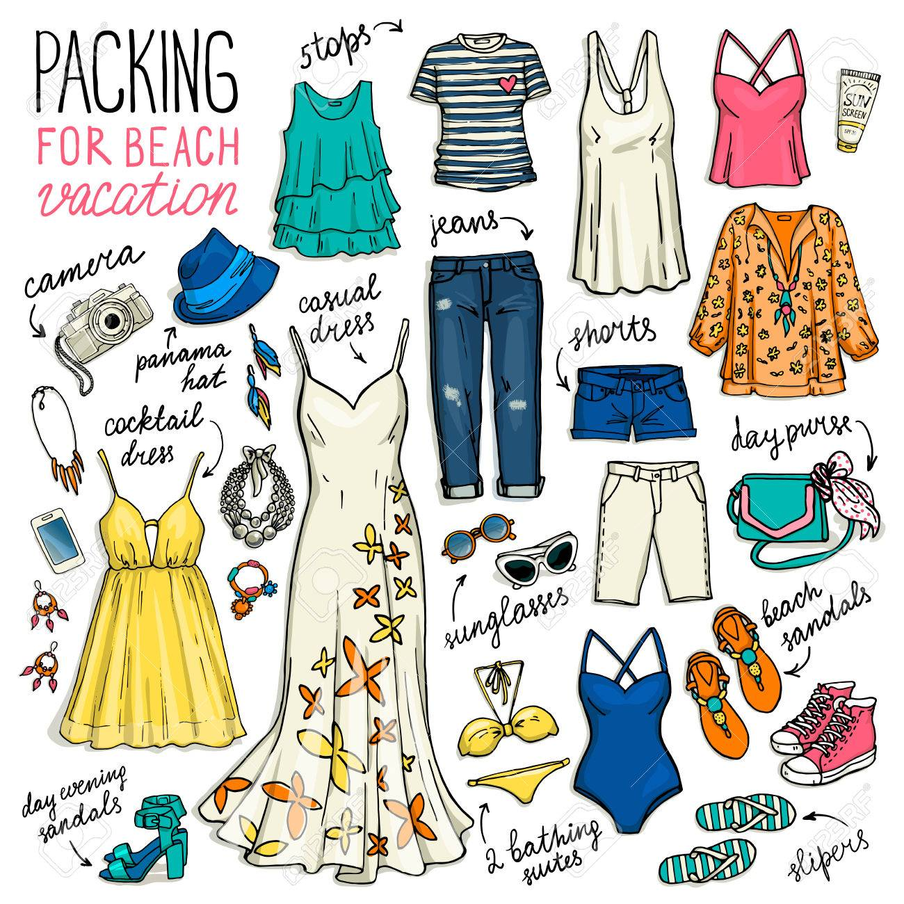 d3ba018c32 Summer travel clothes. Packing for beach vacation. Woman clothing set.  Vector hand-