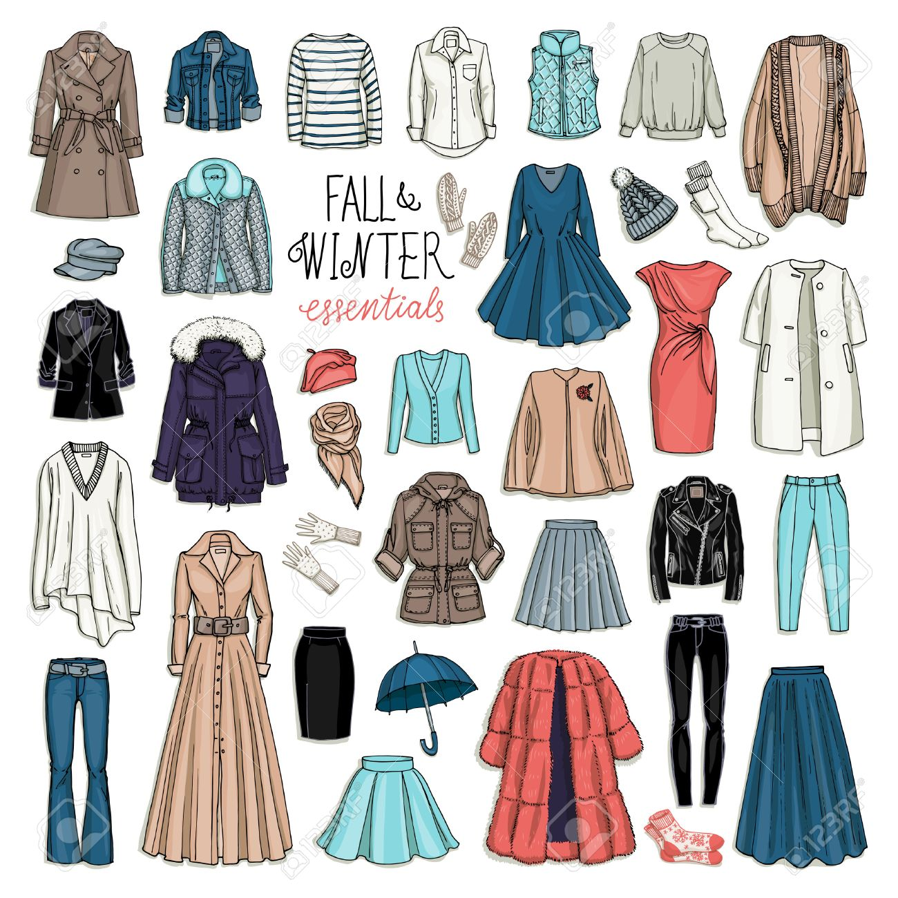 Vector illustration of female fall and winter fashion collection of clothes. Hand-drown objects sketch isolated on white background - 51444725