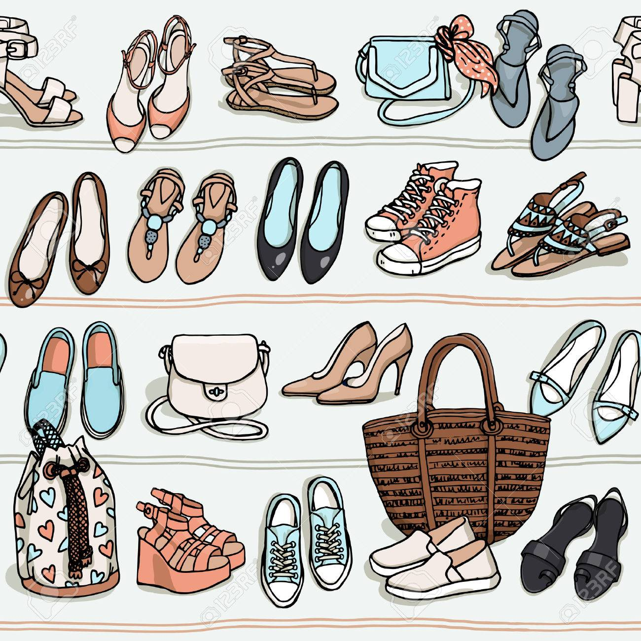 acaaa476a0 Hand drawn vector seamless pattern of shoes bags and female fashion  accessories in pastel colors.
