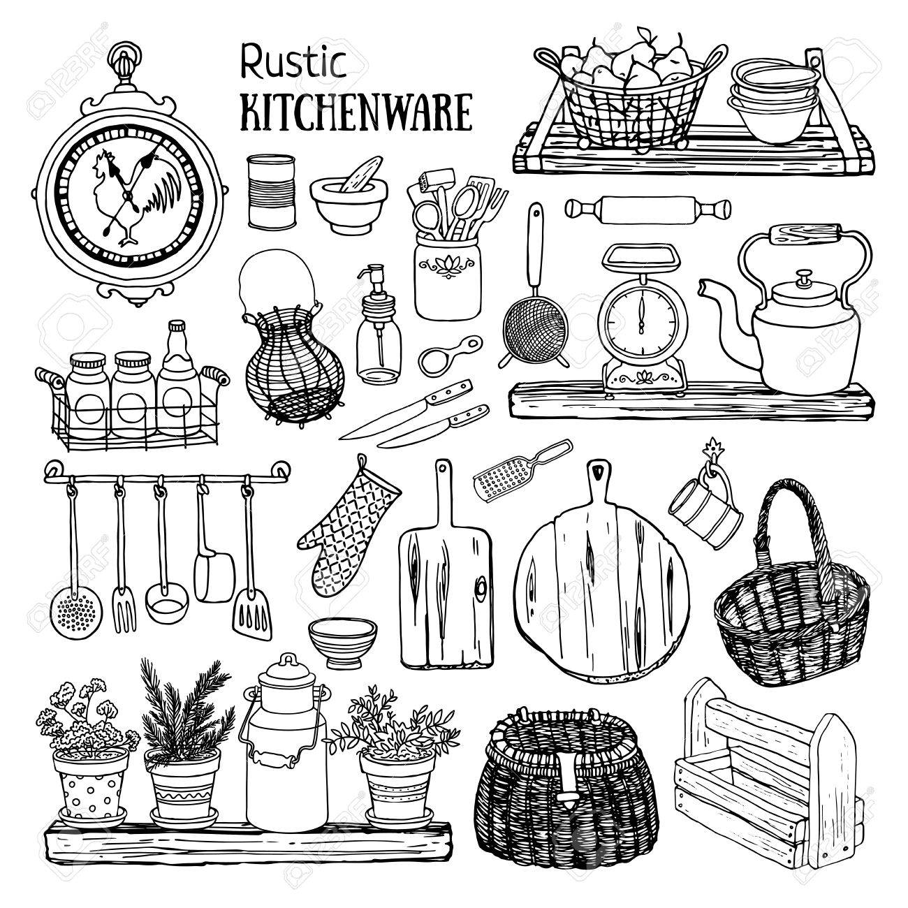 Hand Drawn Illustration Rustic Kitchen Set Black And White Sketch