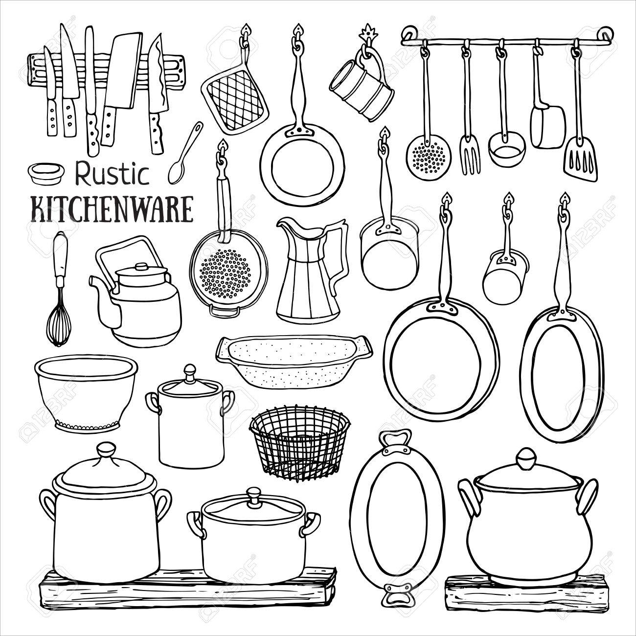 Hand Drawn Set Of Rustic Kitchen. Black And White Sketch Of ...