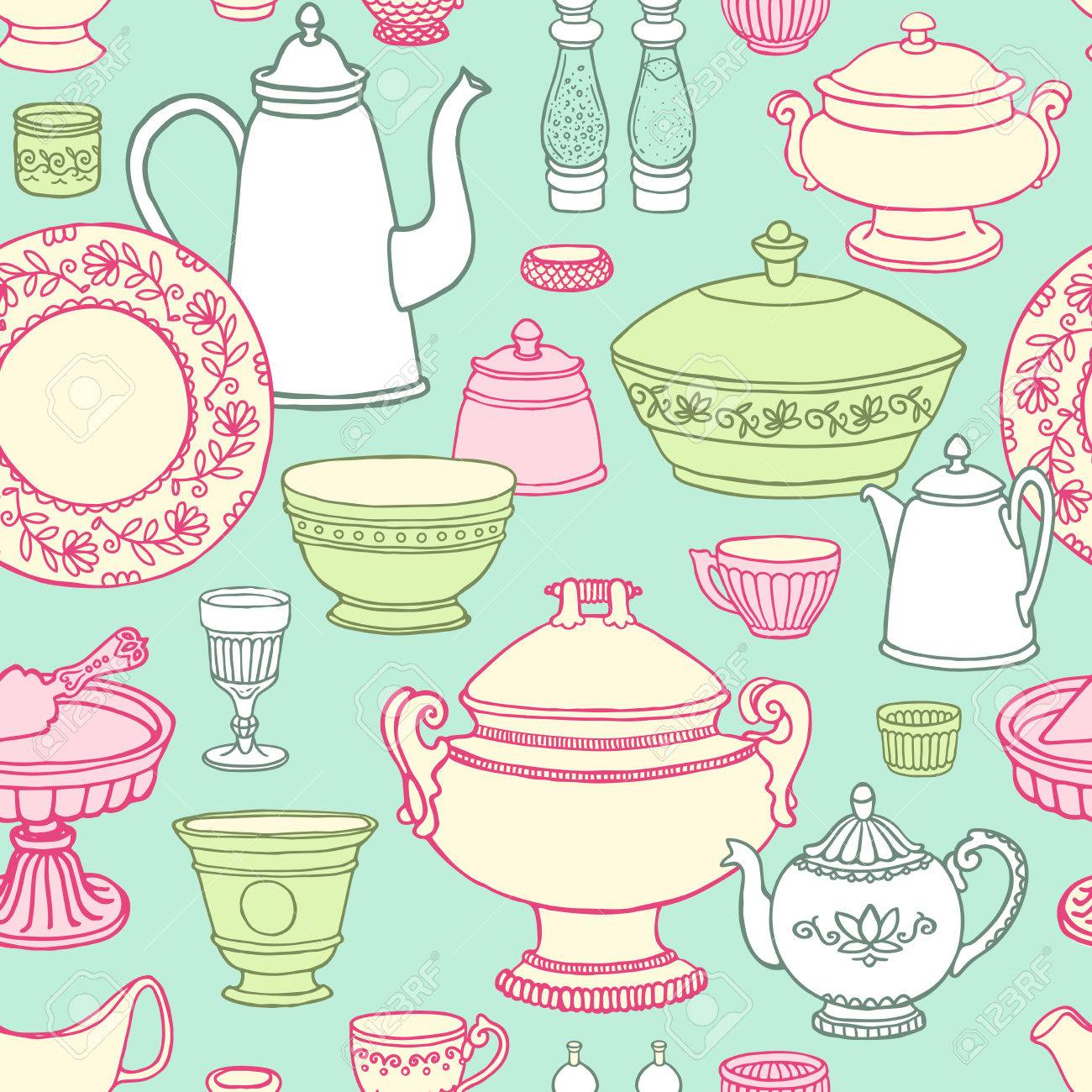 Shabby Chic Kitchen Vector Seamless Pattern With Cooking Items Hand Drawn Food And Drink In