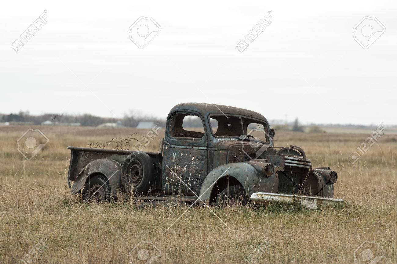 Old Classic Truck In A North Dakota Pasture Stock Photo, Picture And ...