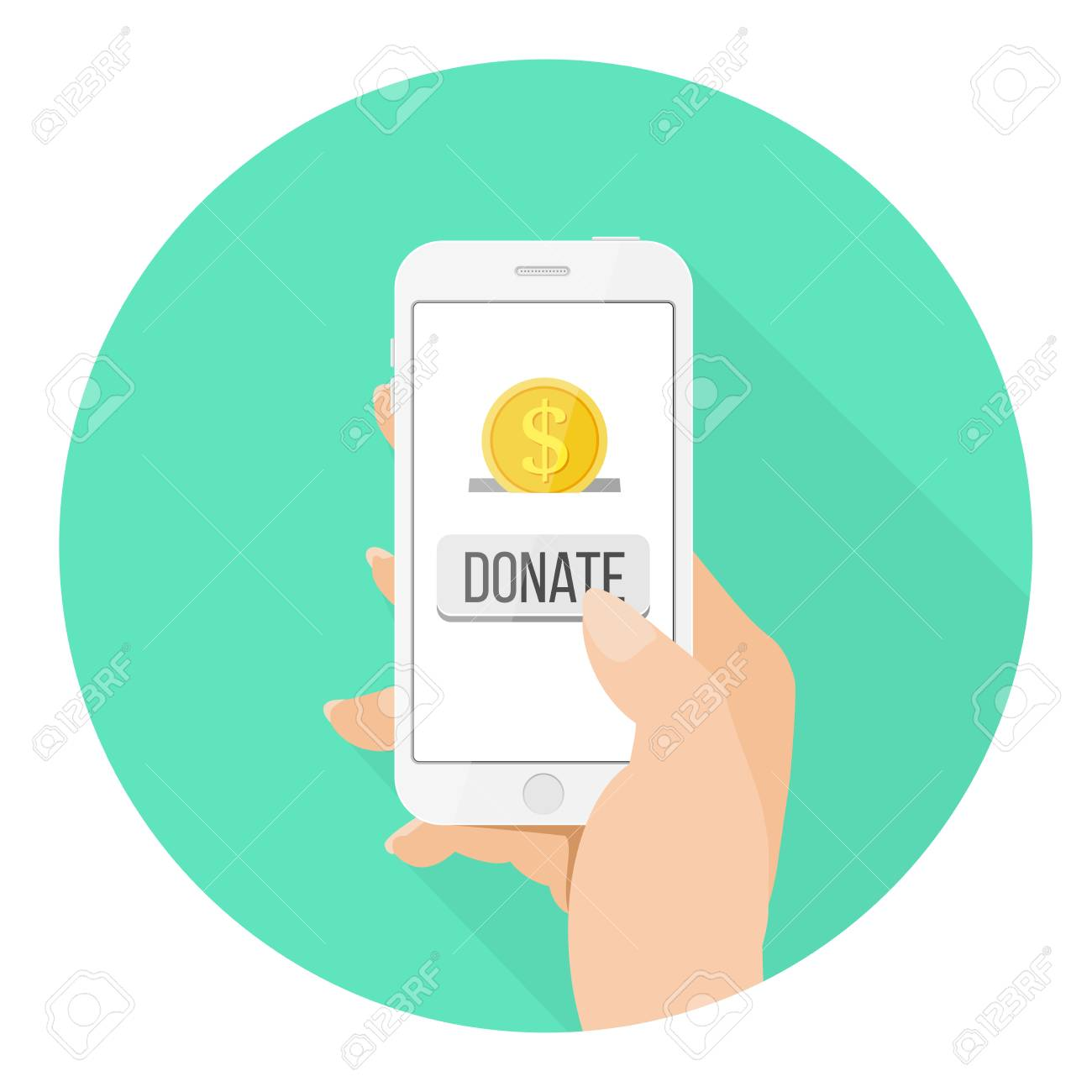 Online Donation Icon Smartphone With Hand And Money Flat Design Royalty Free Cliparts Vectors And Stock Illustration Image 83263241