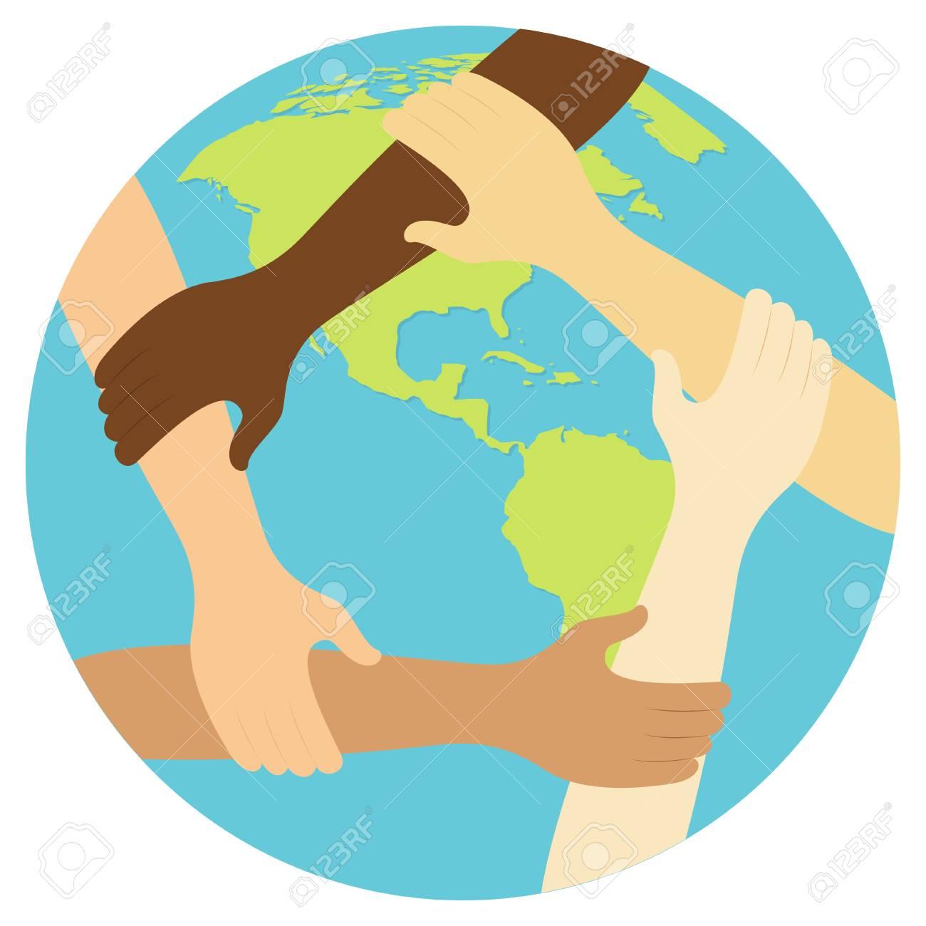 teamwork symbol ring of hands flat design icon Vector illustration. - 99408625