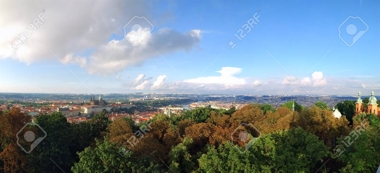 Prague city panorama, Czech Republic. Aerial view - 90160447